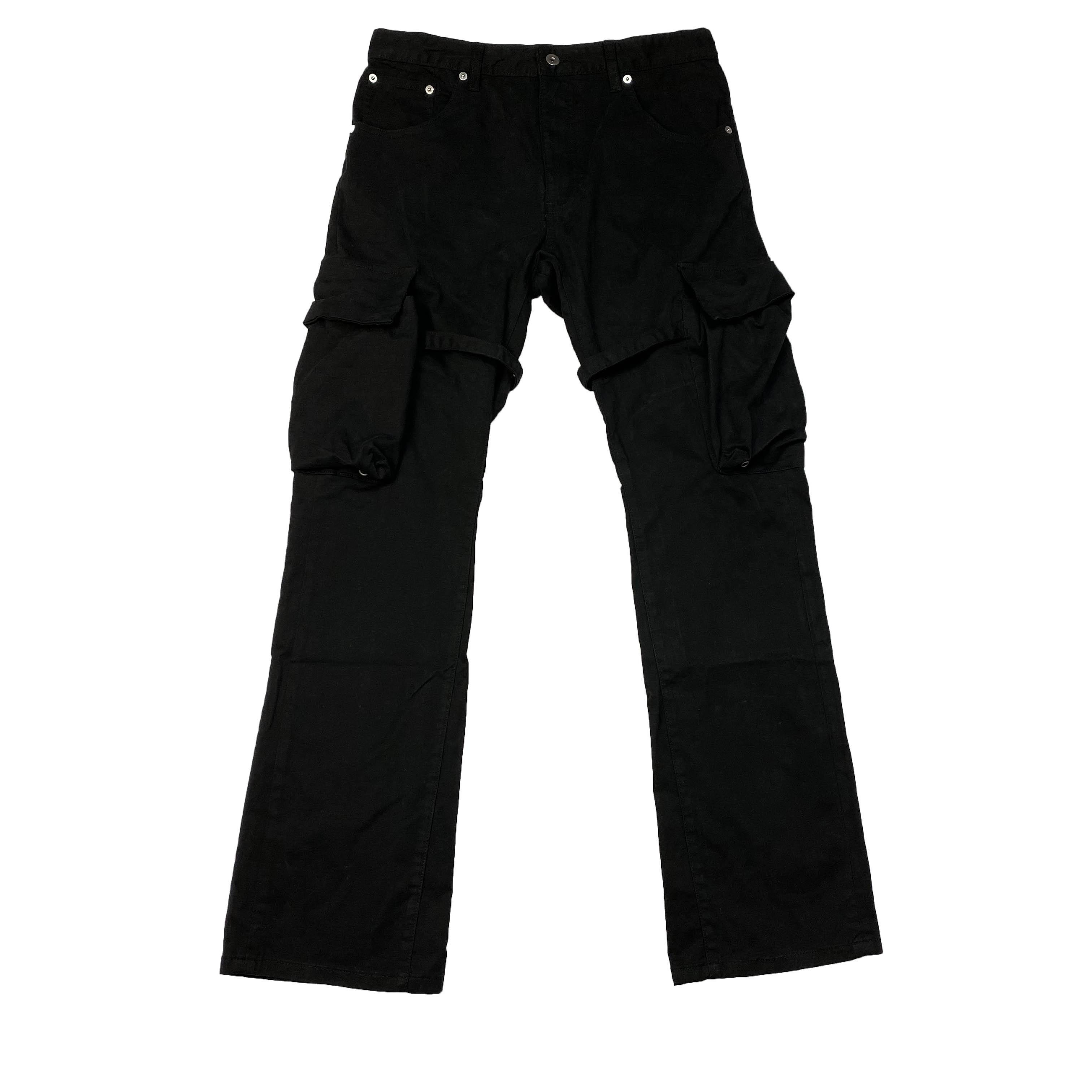 الرجال الملابس الداخلية VUJADE CARGO FLARE جيب البنطلون الشريط ملابس مايكرو مضيئة سروال ترافيس عارضة أزياء للياقة البدنية شارع العليا