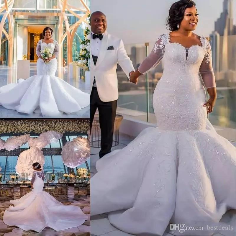 African Mermaid Brautkleider Pailletten SpitzeAppliques Illusion langen Ärmeln Brautkleider Sheer Zurück Sexy Luxus Brautkleider