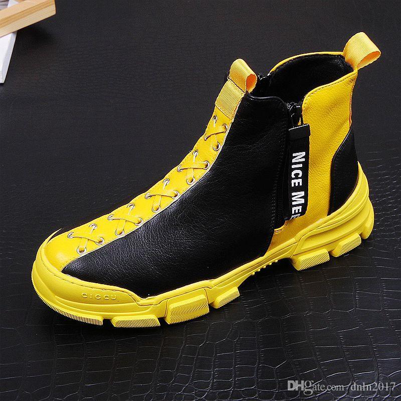 Men Fashion Shoes Casual Autunno Inverno Uomo Scarpe Uomo alte Botas Hombre Uomini Tempo libero Yellow Boots Hip-hop 5 # 15 / 20D50