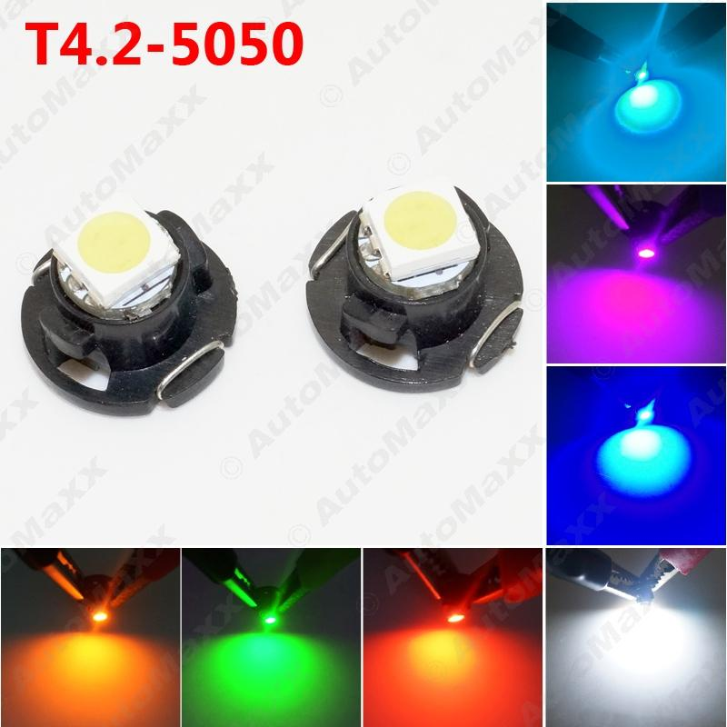 50PCS 자동차 자동차 T4.2 1SMD 5050 칩 LED 대시 보드 미터 패널 LED 전구 7 색 # 4760