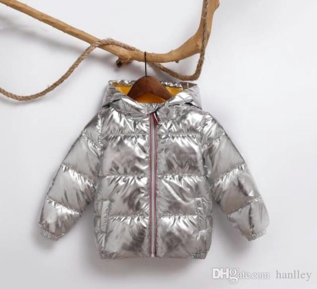 키즈 소녀 실버 골드 소년 캐주얼 후드 코트 아기 의류 착실히 보내다 아이 파카 자켓 방한복을 위해 2018 어린이 겨울 재킷