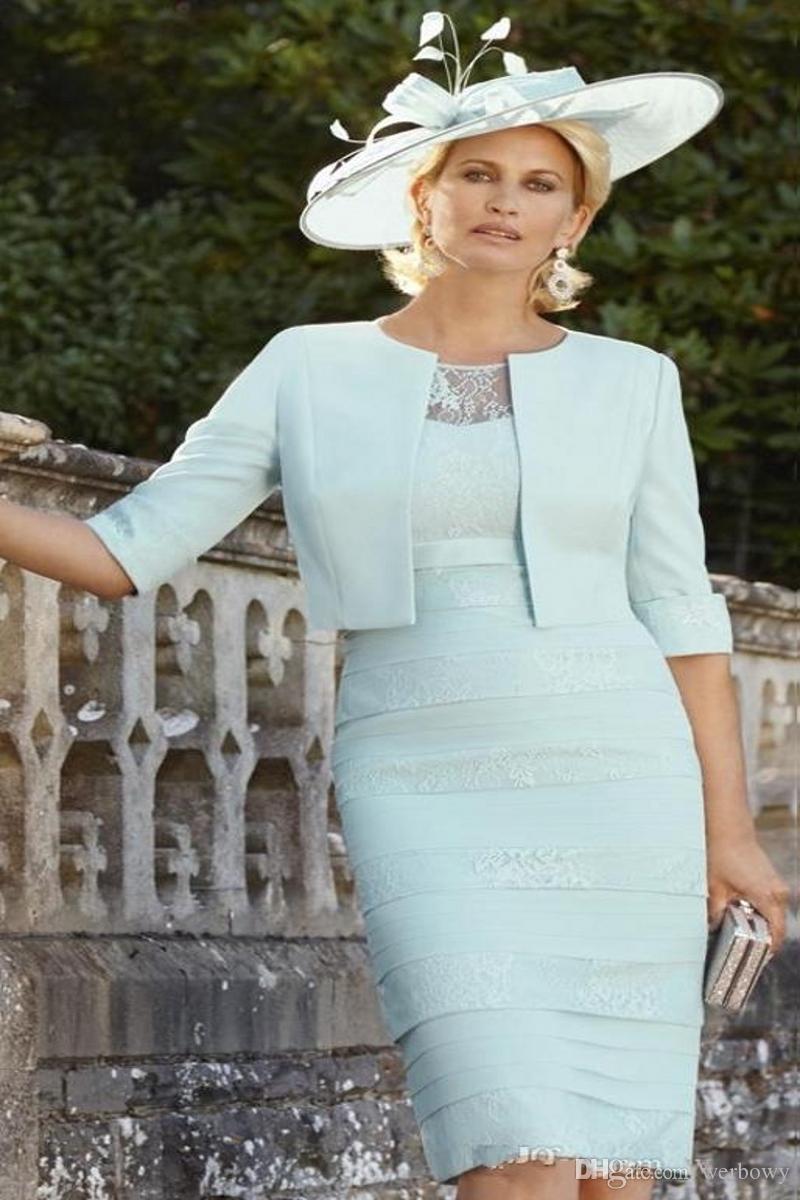 Chic Mint Green Lace Матери невесты платья с рукавом Половина многоуровневого свадебное платье Гость колена плюс размер куртки Матери Groom платье