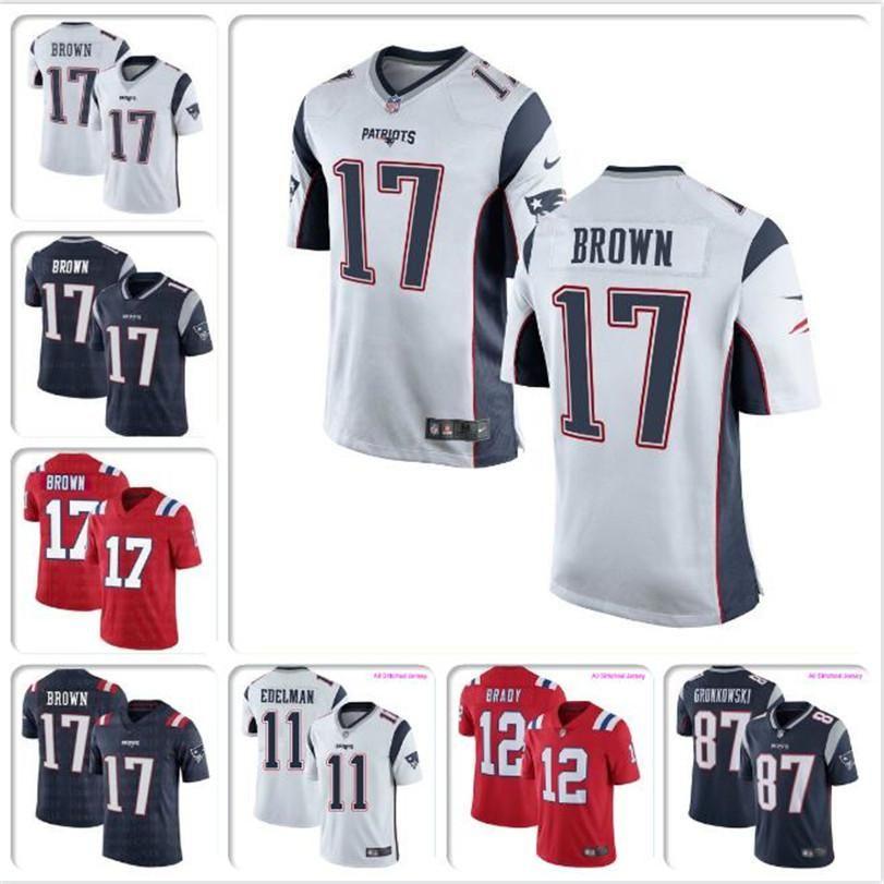 Men's Antonio Brown Patriots Jersey New England Tom Brady Julian Edelman Rob Gronkowski custom american football jerseys Jake Bailey yo