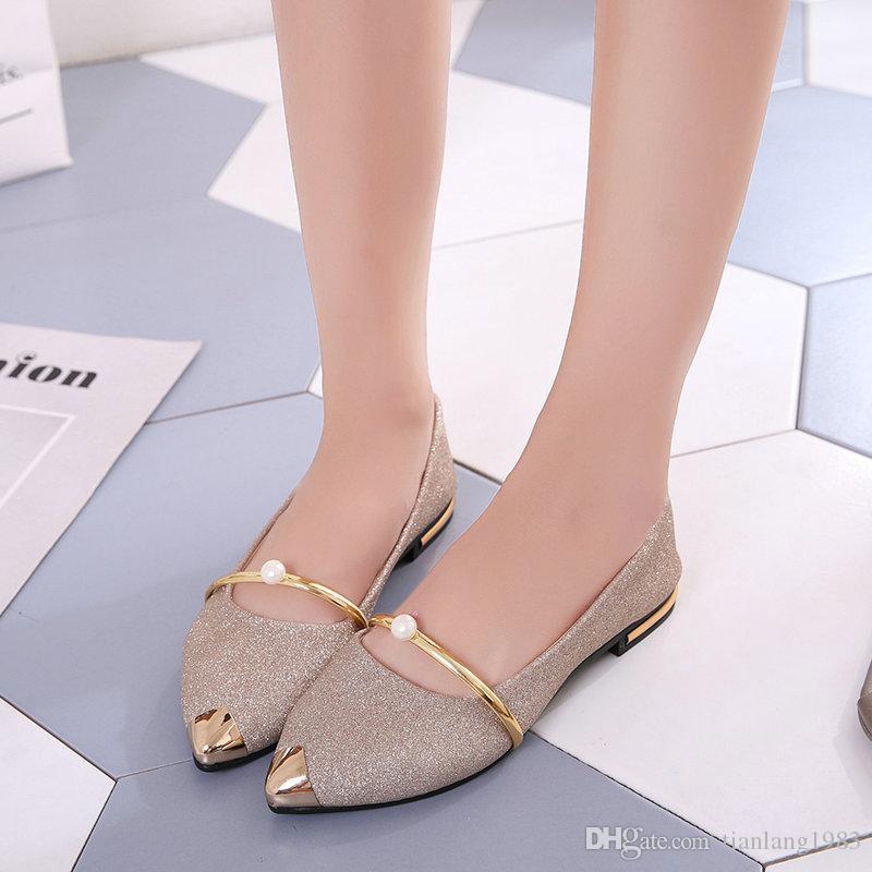 venda quente ocasional pérola designer de sapatos rasos mulheres da forma do ouro de prata mulheres noivas vestido preto sapatos ponto toe pano Lantejoula bling do sapato de casamento