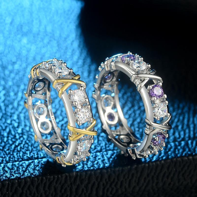 All'ingrosso-americana e separazione esplosiva vendita gioielli zircone impegno europeo zircone doppio colore Anello Donna Cross-colore