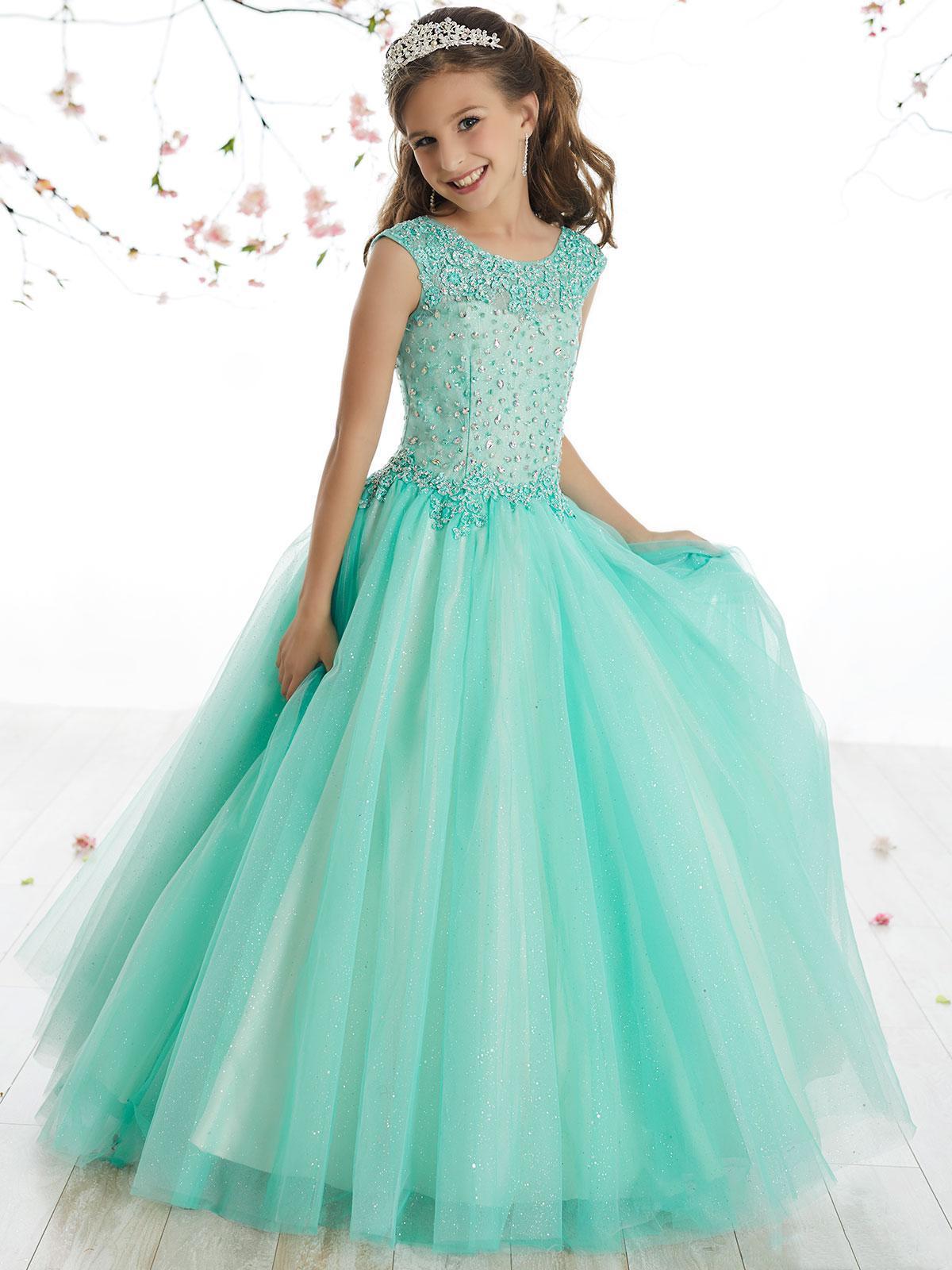 2020 Belleza Verde Agua Tulle Applique de los granos vestidos de flores niña de las muchachas del desfile de vestidos de fiesta / tamaño de la falda de la aduana del cumpleaños / 2-14