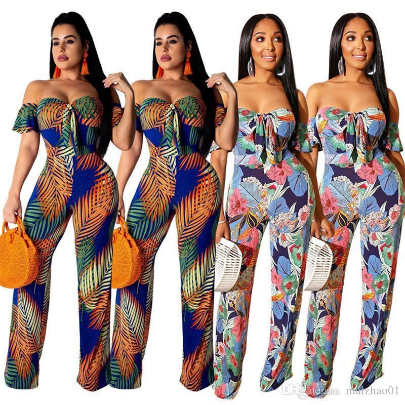 Мода Женщины Комбинезон с плеча Backless Rompers Bohemian Дизайнер Цветочные печати Комбинезоны Summer Цельный Bodysuit Club Ромпер Новый