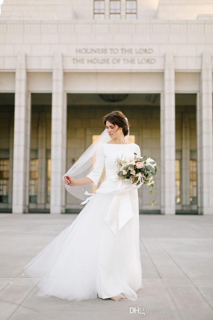 2019 Новый Креп Топ Тюль Юбка A-Line Скромные Свадебные Платья С Половиной Рукава Лодка Шеи V Назад Женщины Простое Скромное Свадебное Платье