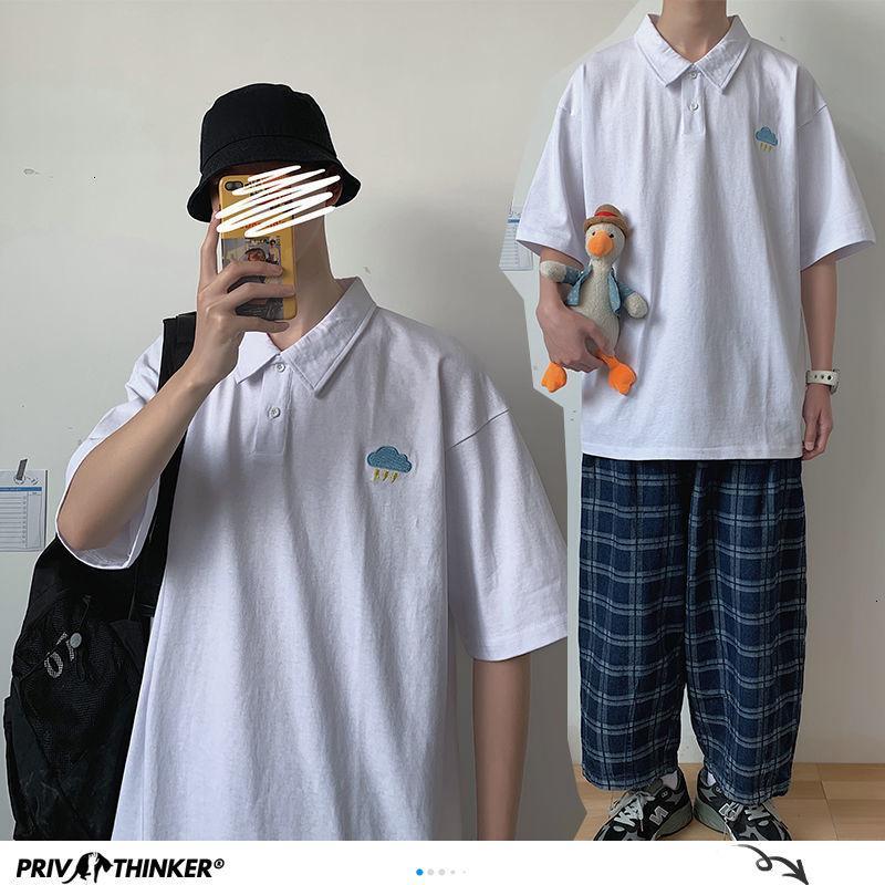 Лето корейский чистый хлопок с коротким рукавом мужская футболка Свободная графическая печать футболка Mans 2020 красочные тройники одежда