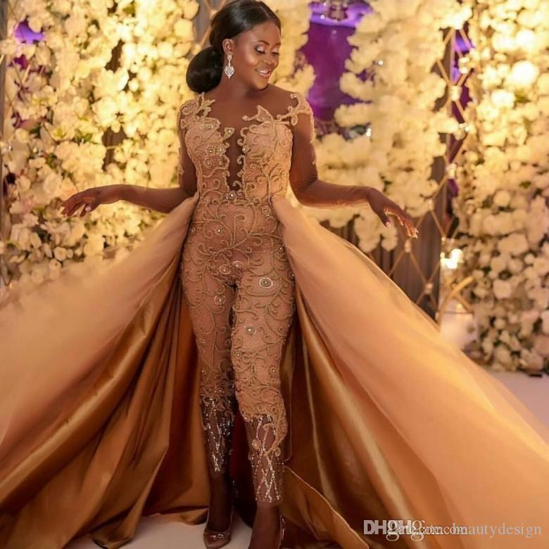 2019 Classic Jumpsuits Long Sleeves Prom Dresses With Detachable Train Lace Appliqued Evening Gowns Luxury African Party Women's Pant Suits