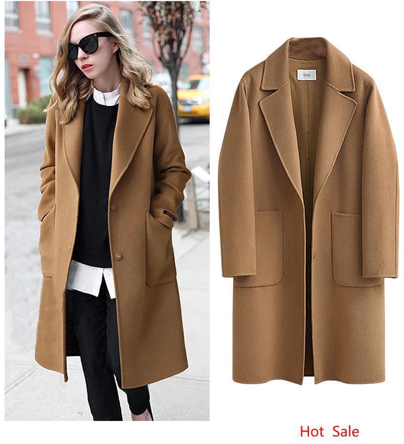 Плюс размера 5XL Женщины Streetwear Мода Свободных пальто Широкой талии дама Длинных пальто шерсть Blends карманного дизайн Верхней одежда женщины