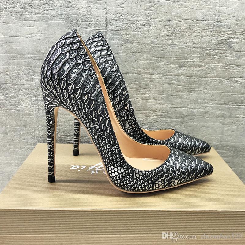 Повседневная дизайнер Sexy lady женская мода насосы острым носом черный серебряный змея печатных дизайнеров высокие каблуки насосы 12 см 10 см 8 см шпильках каблуки