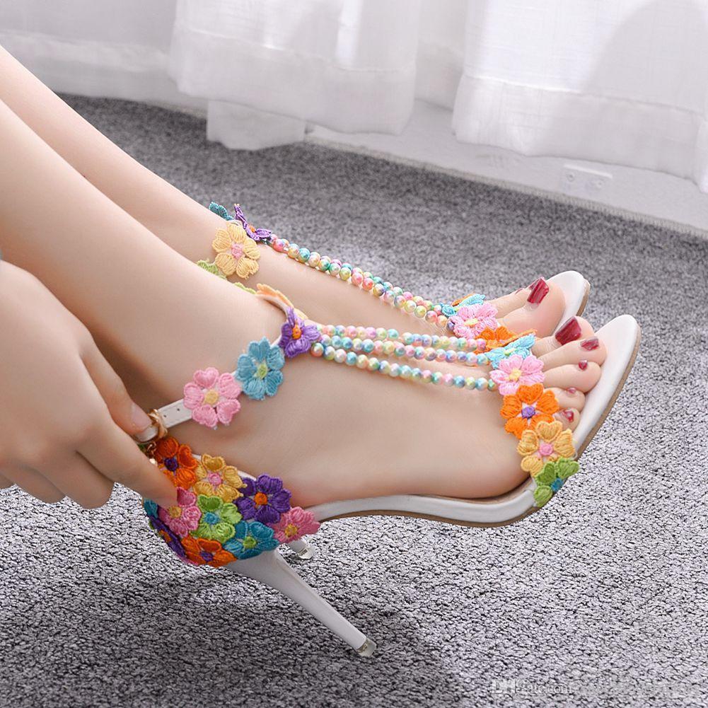 Women fashion Sandals White Lace Flowers Pearl Tassel Bridal Super Heel Fine High Heels Slender Bridal Shoes Wedding Shoes