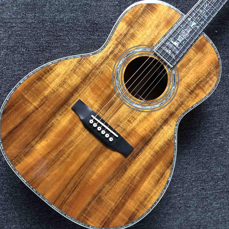 39-Zoll-OOO-Koa-Holz-Akustikgitarre Ebony-Fingerboard-Abalone-Inlay mit Pickup-Elektronik