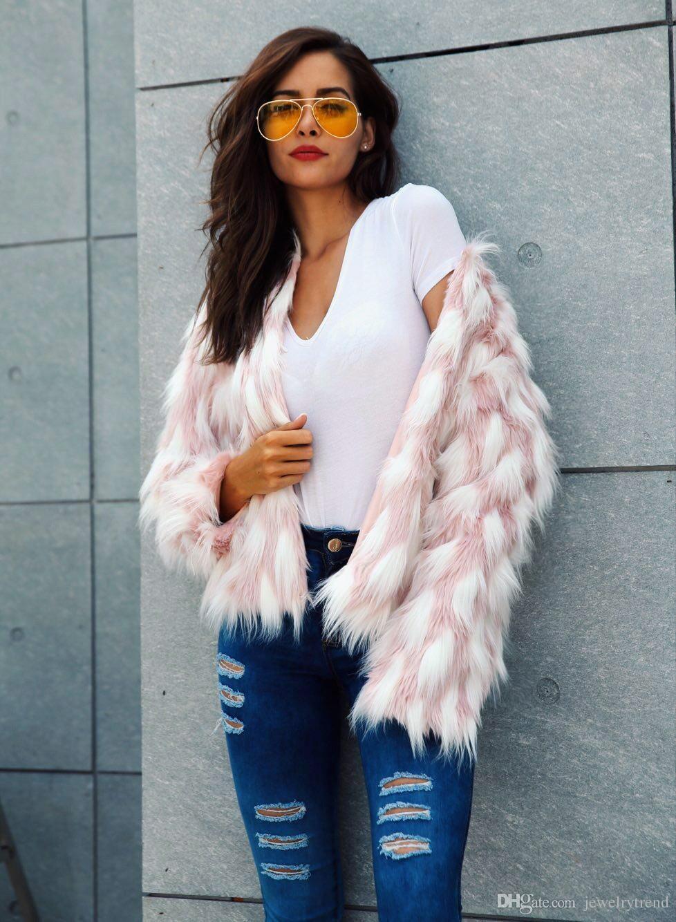 New Autumn Winter Women's Faux Fur Jacket Coat Pink White Parthwork Lady's Female Short Outerwear Coats Capa C3932