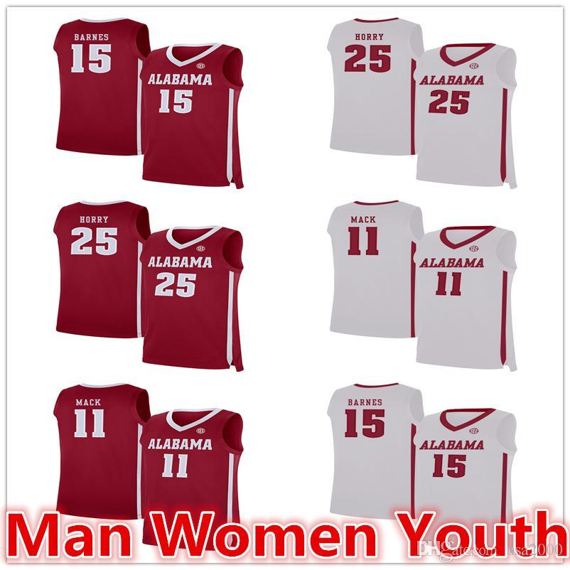 Выполненный на заказ Alabama Crimson Tide баскетбольного Орри 25 Тайлер Barnes 15 Tevin Mack Джерси 11 NCAA любого число имени S-5XL