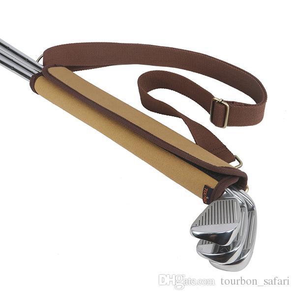 Tourbon Vintage Design Golf Clubs Porte capitonnée Clubs Protection Stockage Toile Cuir Golf Gun Porte-Sac