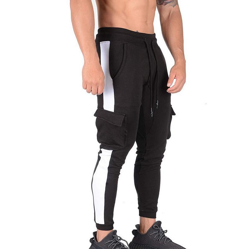 Listrado Moda Mens Harem Pants Cordão lápis Jogger calças de algodão Casual Moletom Masculino de Hip Hop Calças Gym Sweatpants