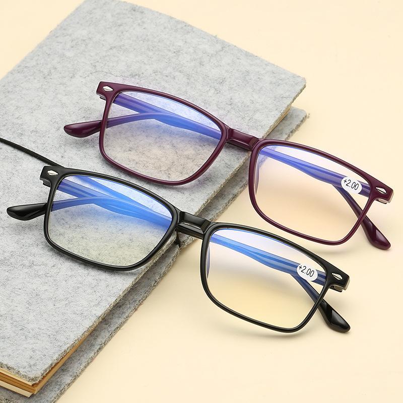 Ahora Light Blue bloqueo Square gafas de lectura Hombres Mujeres Ultralight TR90 Reading presbicia Glasses 1,0 1,5 2,0 2,5 3 3,5 4
