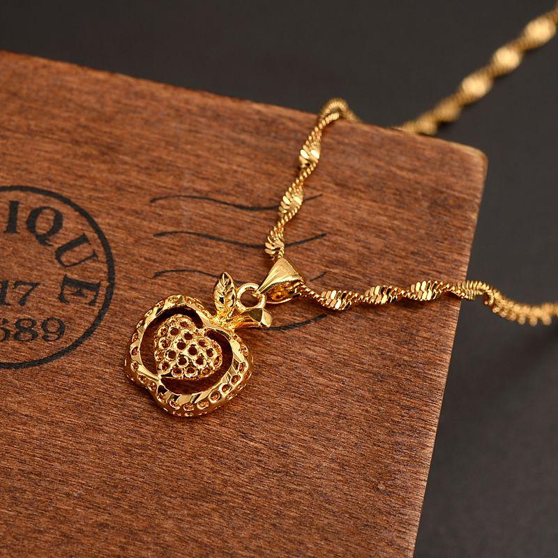 Dubai india gold apple heart Women Girl Ethiopian Pendant Necklace 24 k Yellow Fine Gold Solid GF Jewelry Flower party wedding