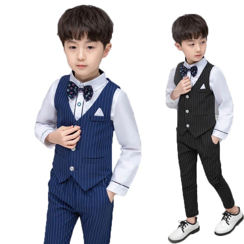 Gentleman robe de mariée anniversaire Enfants Garçons Gilet + Pantalons 2PCS costume formel école enfants Graduation Tuxedo Costume Set Vêtements