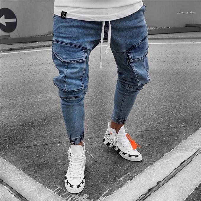 Azul Mens Calças Lápis Mid cintura Mens Calças Skinny longo Designer Mens Jeans Moda Pockets leve magro