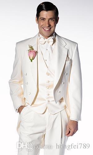 (Jacket+Pants+Vest+Tie) Customize Shawl Lapel Handsome White Groom Tuxedos Groomsmen Best Man Suit Mens Wedding Suits Bridegroom 0001