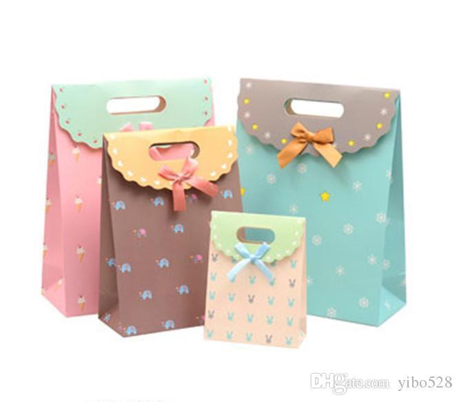 2019 розовый картонный цветочный портативный подарочный пакет Свадебные сувениры Сумка для конфет Подарочная сумка с лентами