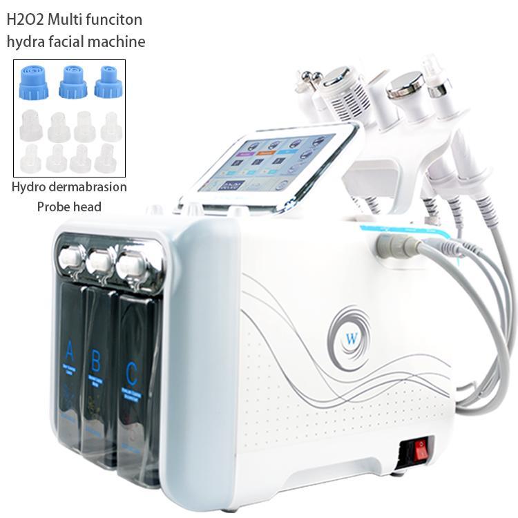 6 in 1 hydradermabrasion + scrubber pelle + RF + martello raffreddamento + ultrasuoni + ossigeno spa spray macchina facciale