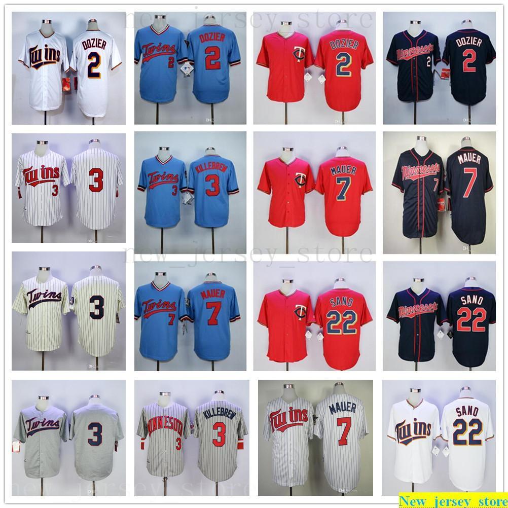 2019 Baseball 2 Brian Dozier Jersey ricamati 3 Harmon Killebrew 7 Joe Mauer scherza il pullover blu grigio bianco rosso donne uomo nero giovanili