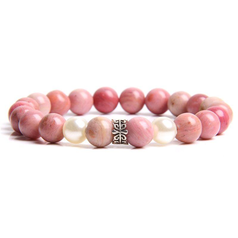 Silver Charm Pink Rose Pulseira Rodocrosita semipreciosas Beads Mulheres Natural de água doce pérolas brancas Friendship Bracelet Femme