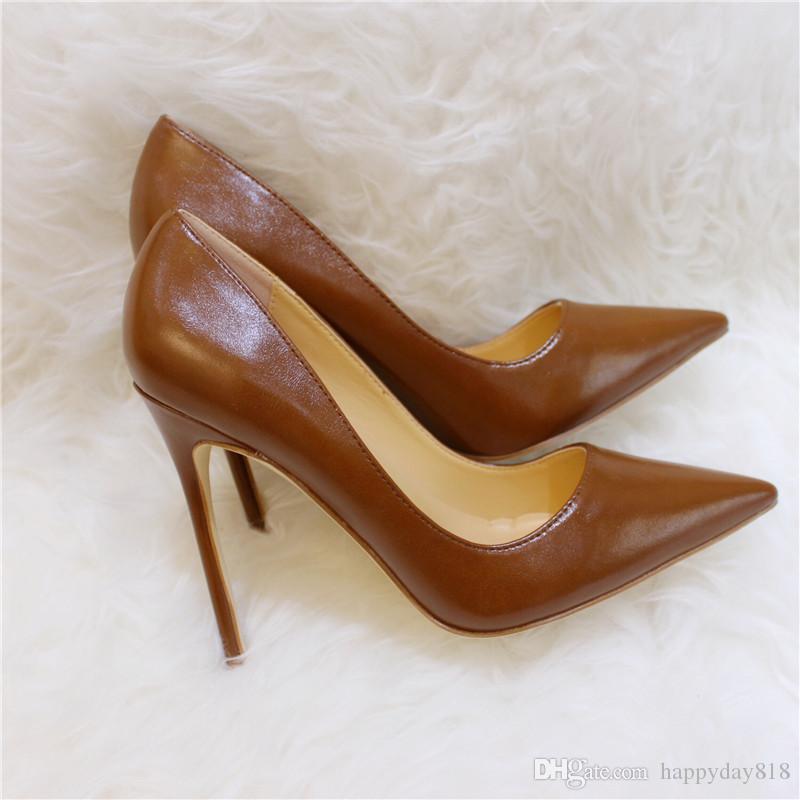 Tarifa de envío gratis nuevo estilo marrón mate de cuero punta del dedo del pie tacones altos zapatos botas bombas novia boda zapatos de fiesta Stiletto 12cm 10cm 8cm