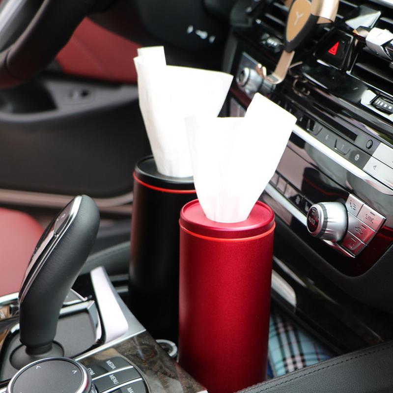 2019 Aluminium-Gewebeschlauch Mülleimer Aschenbecher Innenpapierhandtuchhalter Auto Supplies Zylinder Auto Tissue Box