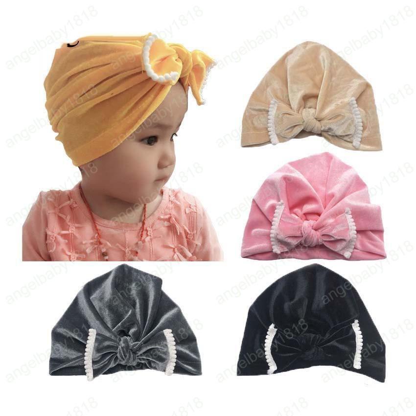 Toddler Kids Baby Bowknot Headwraps Girls Indian Turban Caps Velvet Beanie Hats.