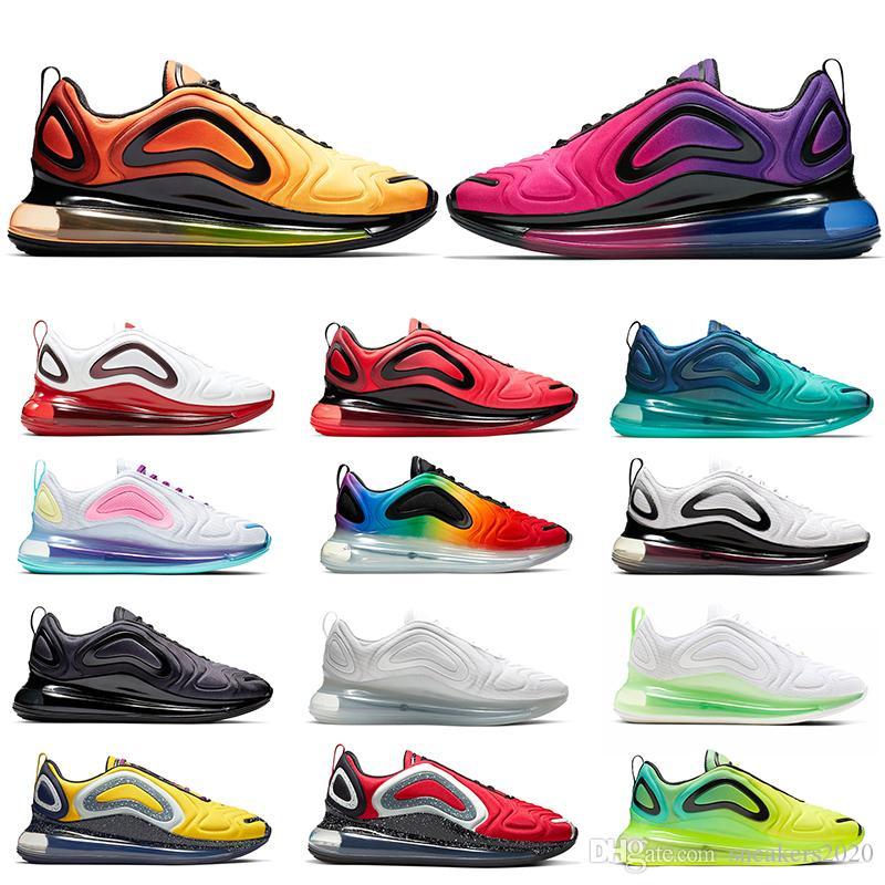 Nike Air Max 720 Erkekler Kadınlar İçin Ayakkabı Koşu Yüksek Kalite Üçlü Siyah Beyaz gerçek Sunrise Sunset Aqua Moda Erkek Eğitmenler Sport Sneakers Be Bred