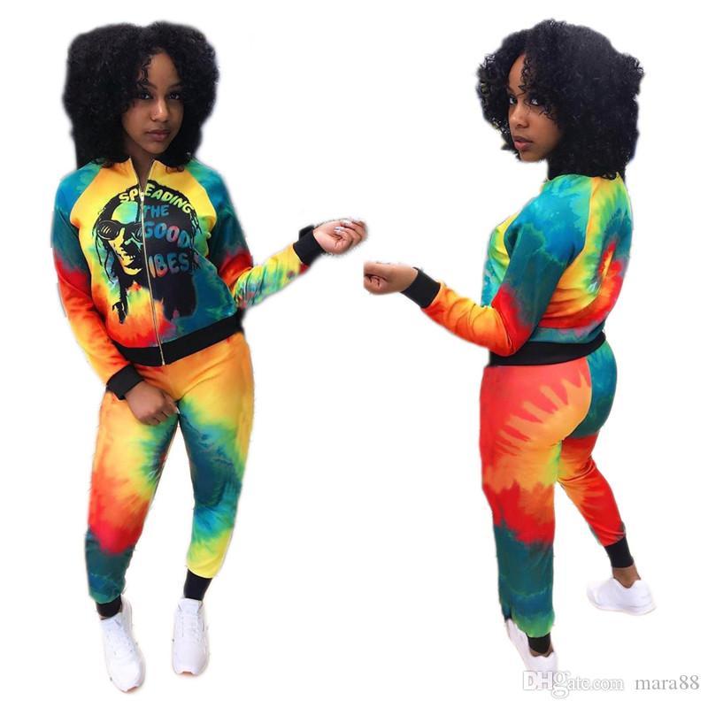 Women casual Sweat suit tie dye streetwear sports 2 piece set long sleeve jacket leggings fall winter clothes fashion jogger suit 2062