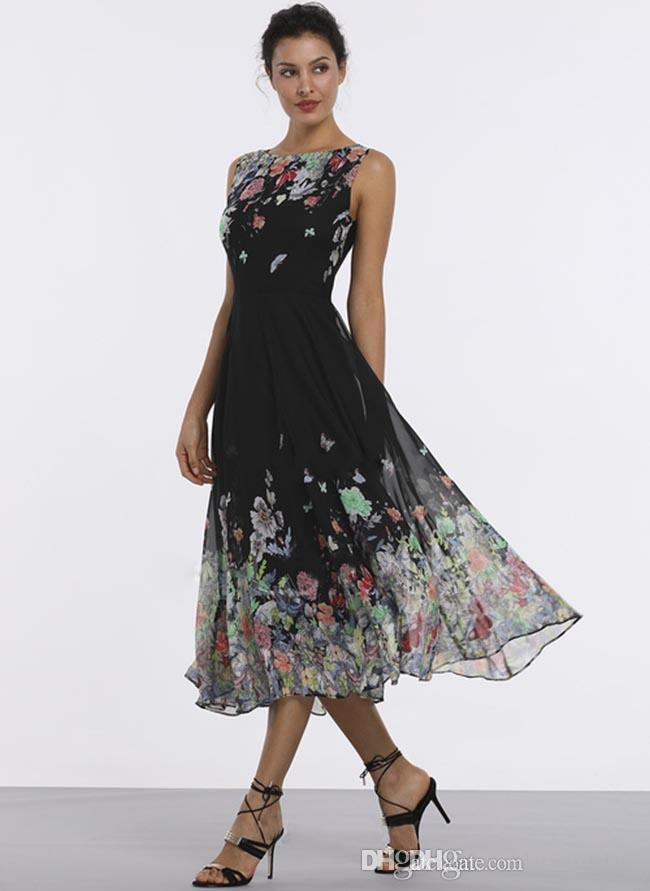 New long printing evening dress floral long skirt t-shirt sleeveless midi A-line dress, big swing skirt