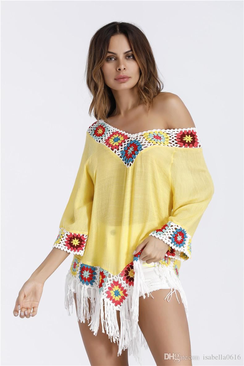 Nueva camiseta de las mujeres de la borla de la camiseta Tamaños libres ocasionales Túnicas largas Tops femeninas Blanco Camiseta amarilla Femme Summer Loose Top para dama