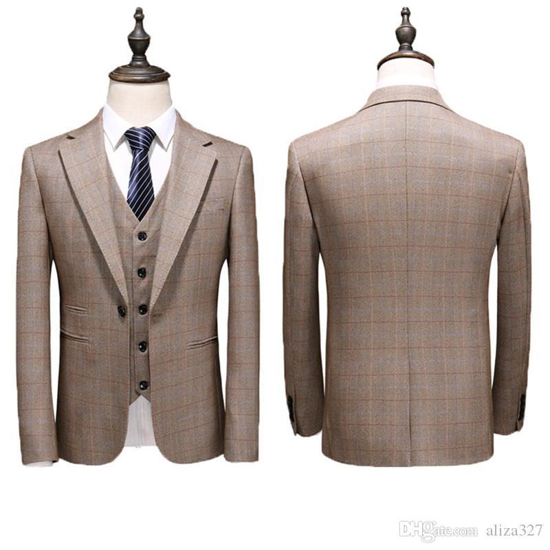 الرجال تناسب الرجال زر واحد سليم الرجل بدلة بدلة ثلاث قطع (سترة السراويل سترة) الرجال المكاتب التجارية الدعاوى عارضة