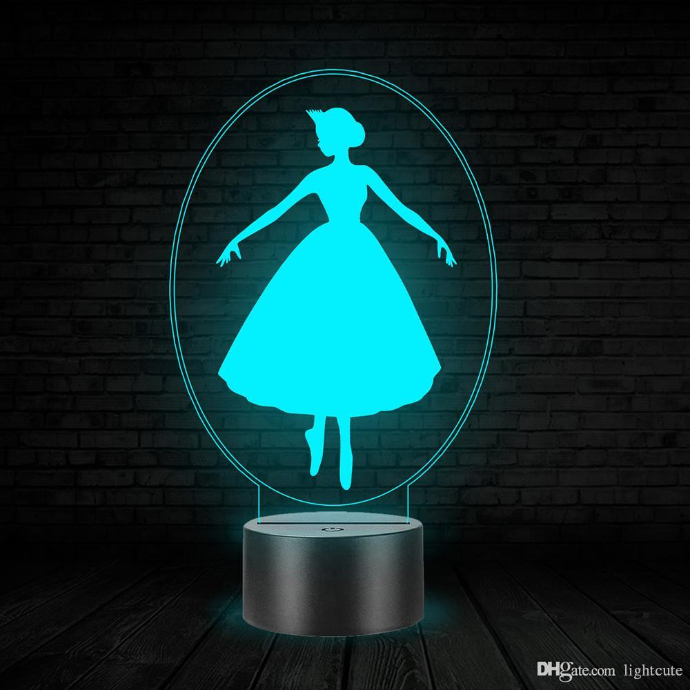 Princess Ballet Dance 3D Illusion Night Light Touch 7 Color LED Lamp Girl Gift Girl Birthday Gift Toy LED Lamp Pretty Girl Bedside Nightligh