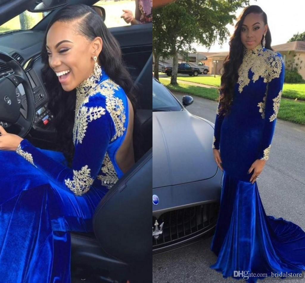 Espartilho africano Sereia Vestidos de Baile Azul Royal de Alta Pescoço Com Apliques De Ouro Sexy Fishtail Vestidos de Veludo Desgaste da Noite de Manga Longa Sem Encosto