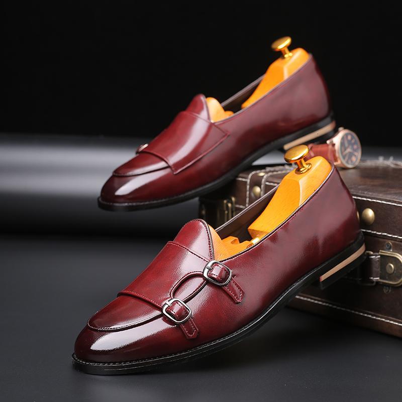 2019 Man loafer'lar deri ayakkabı erkekler Elbise Ayakkabı Vintage İş Casusal Şık Ayakkabı Parti Casual İngiliz Stil Flats Ayakkabı SH190926