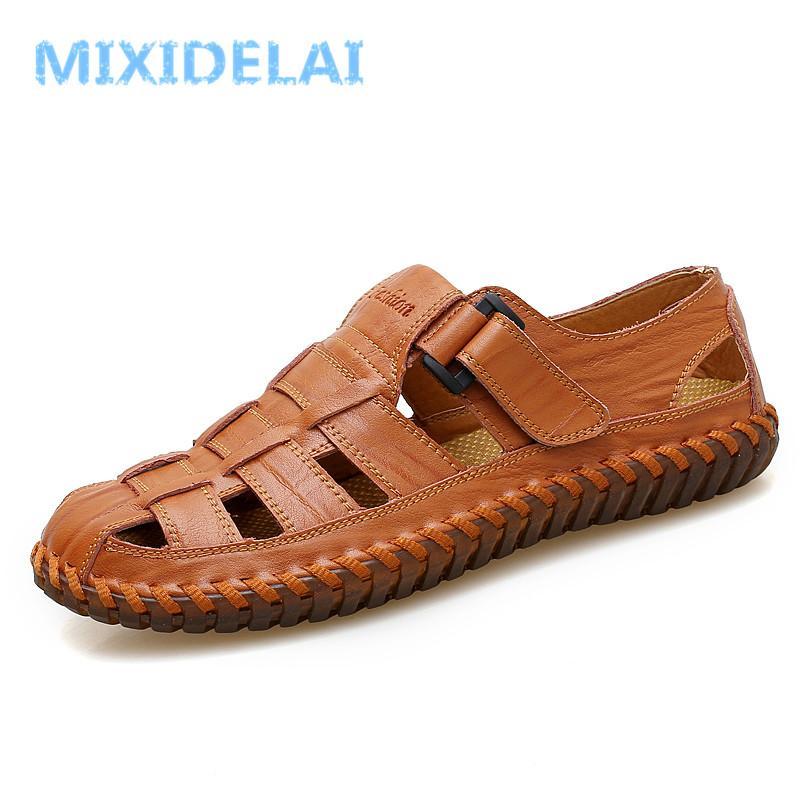 MIXIDELAI Yaz Erkek Sandalet 2019 Eğlence Plaj Erkekler Ayakkabı Yüksek Kalite Hakiki Deri Sandalet erkek Sandalet Büyük boy 39-47