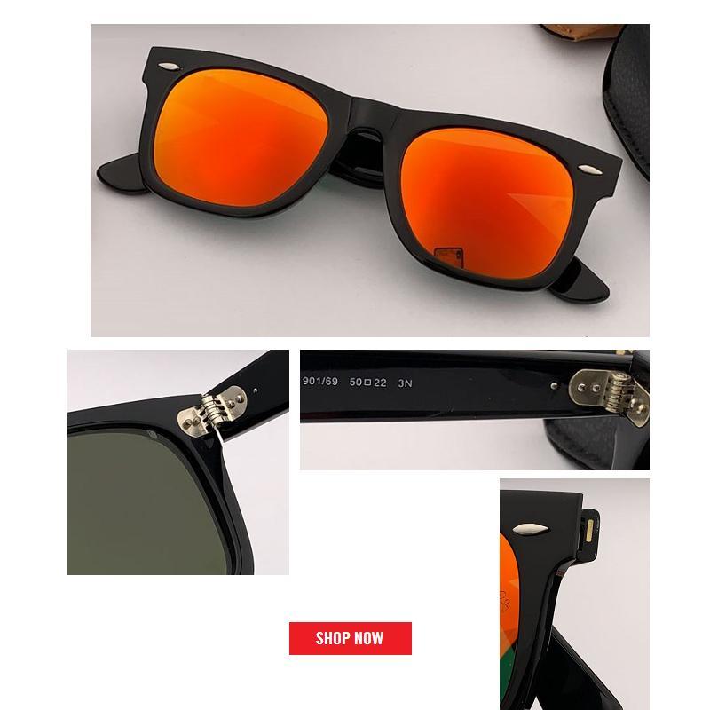 Moda quadrada Óculos De Sol top designer de marca espelhado Óculos De Sol Dos Homens Clássico flash All-Fit Espelho uv400 Óculos De Sol 54mm 50 Com Marca Caixa CE