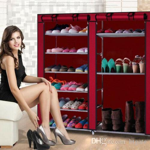 6 ряд 2-строчных нетканых тканью обуви стойку для обуви 12 решетки комбинированные стиль обуви стойку обувь хранения организатор обуви кабинета