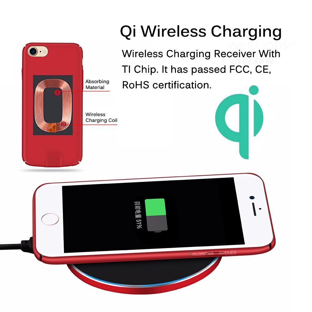 2 In 1 Multifunction Qi Wireless Charger Receiver Full Protection Case For iPhone 7 6 Plus Slim Light Cases Charging Cable PC Material Cover