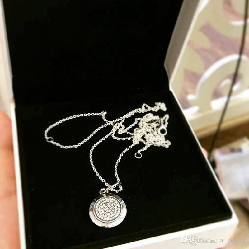 Temperamento giro eterno collar de Pandora de plata de ley 925 CZ del embutido diamante de la alta calidad de las señoras del collar pendiente de la caja original