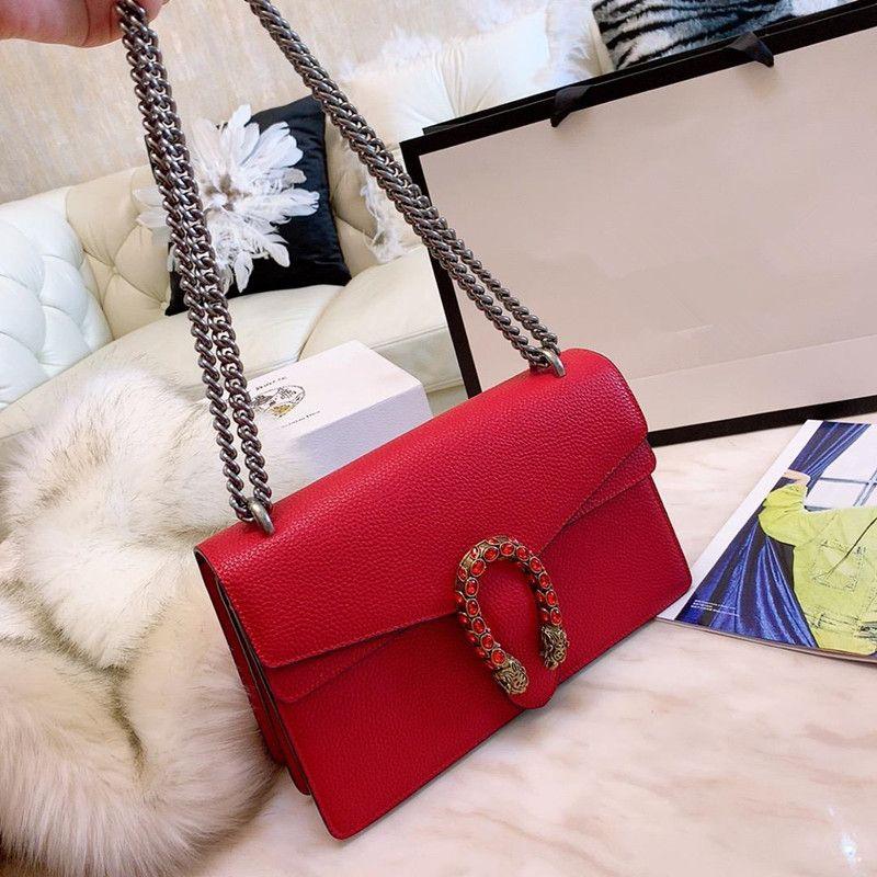 alta calidad caliente de cuero de vaca de la cadena femenina de moda Lover Bolsa de hombro del bolso Messenger Tamaño 28 * 18 * 9cm