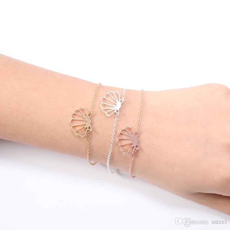 30pcs hollow Ocean Beach Conch shell Bracelet Sea Shell Bracelet Cute Seashell Bracelets Nautical Ariel Bracelets for Women Party jewelry