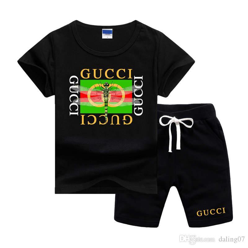 GCBrand Logo Luxuxentwerfer Kinderkleidung Set Print Libelle Sommer-Baby-Kleidung Drucke Junge Outfits Kleinkind-Mode-T-Shirt Short-Klage